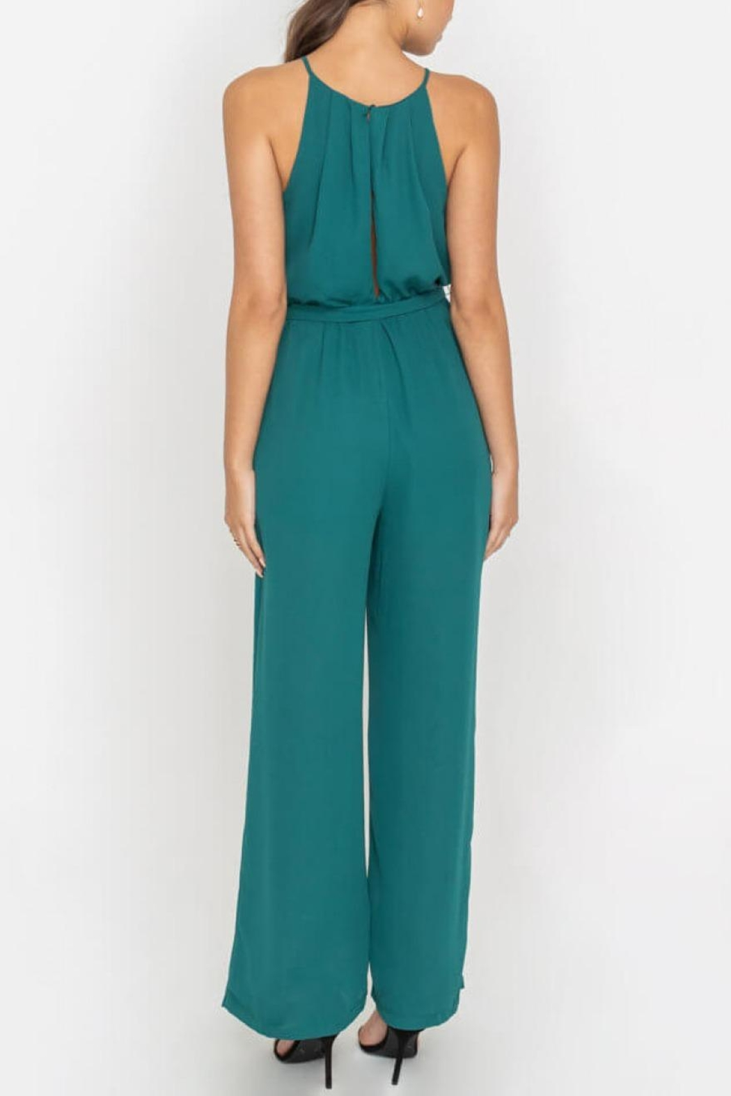 Lush Clothing  Teal Halter Jumpsuit - Side Cropped Image