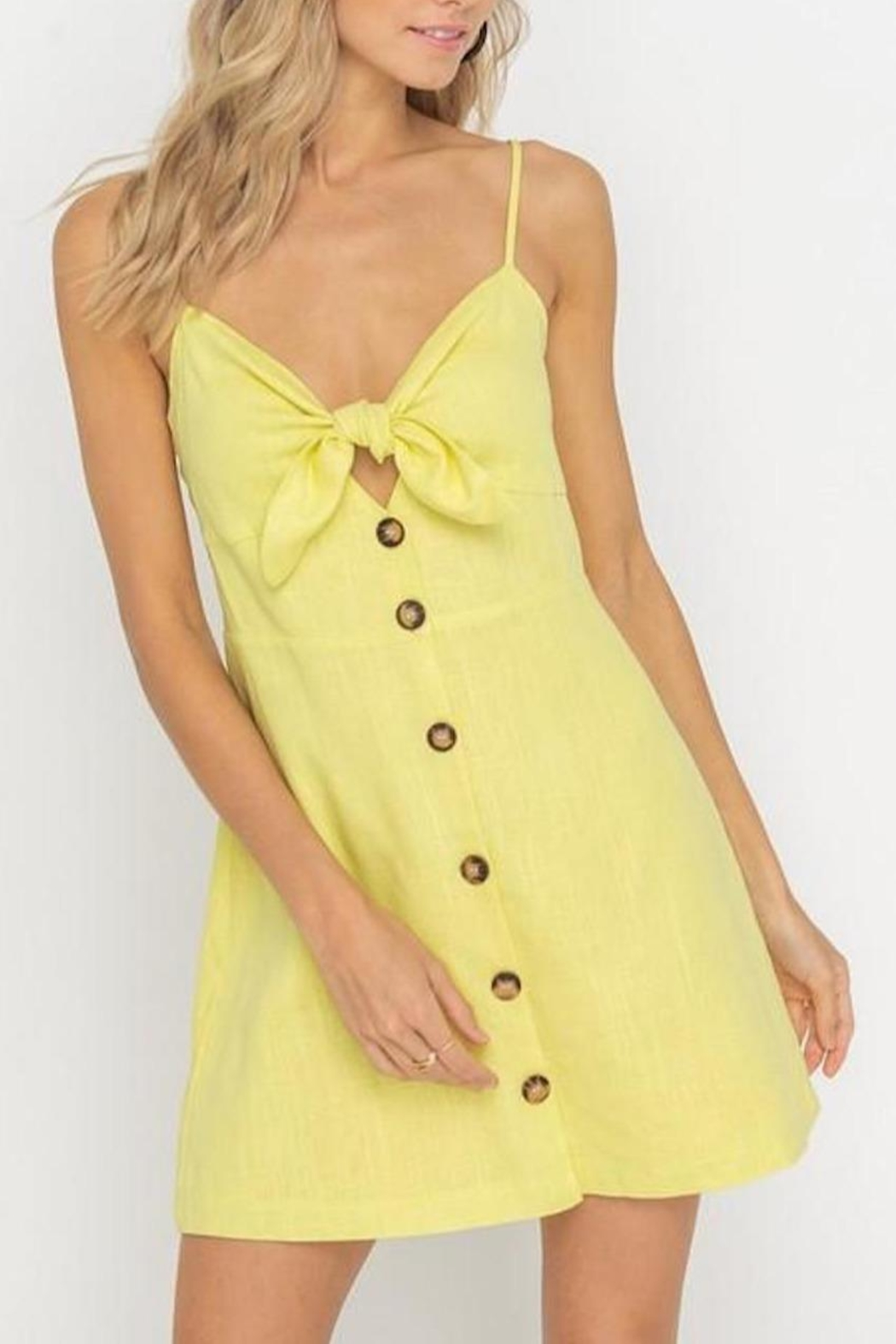 Lush Clothing  Tie-Accent Button Mini-Dress - Front Full Image