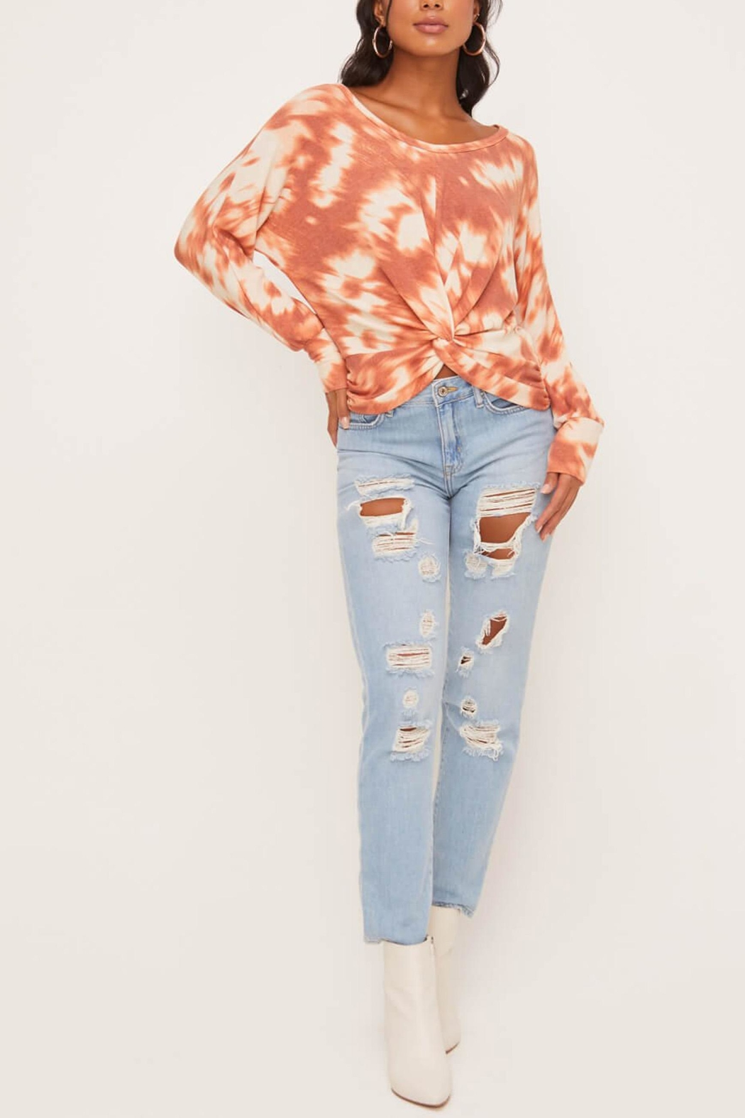 Lush Clothing  Tie-Dye Twist Front Top - Side Cropped Image