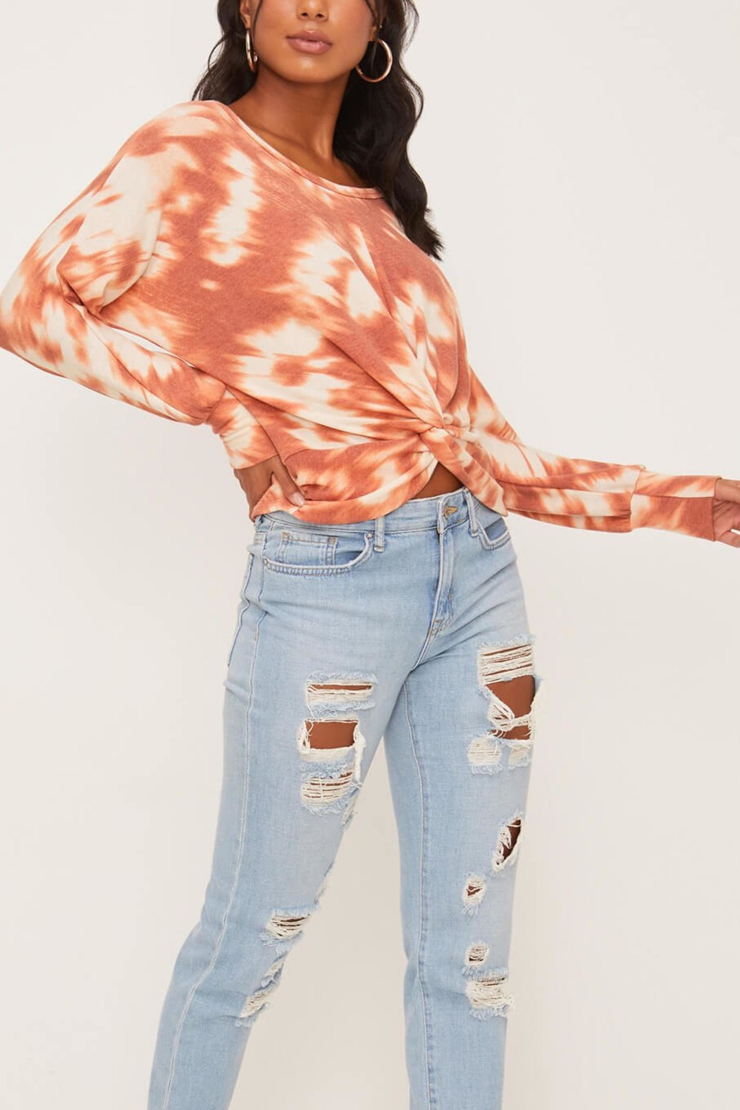 Lush Clothing  Tie-Dye Twist Front Top - Back Cropped Image