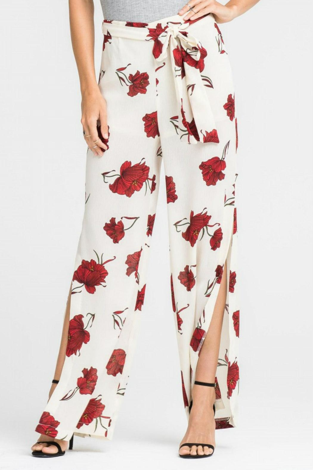 Lush Clothing  Tie-Waist Floral Pant - Front Full Image