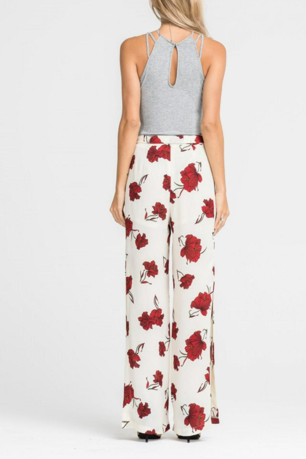 Lush Clothing  Tie-Waist Floral Pant - Side Cropped Image