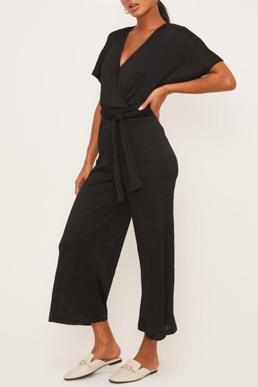 Lush Clothing  Wrap-Front Dolman Jumpsuit - Front Full Image