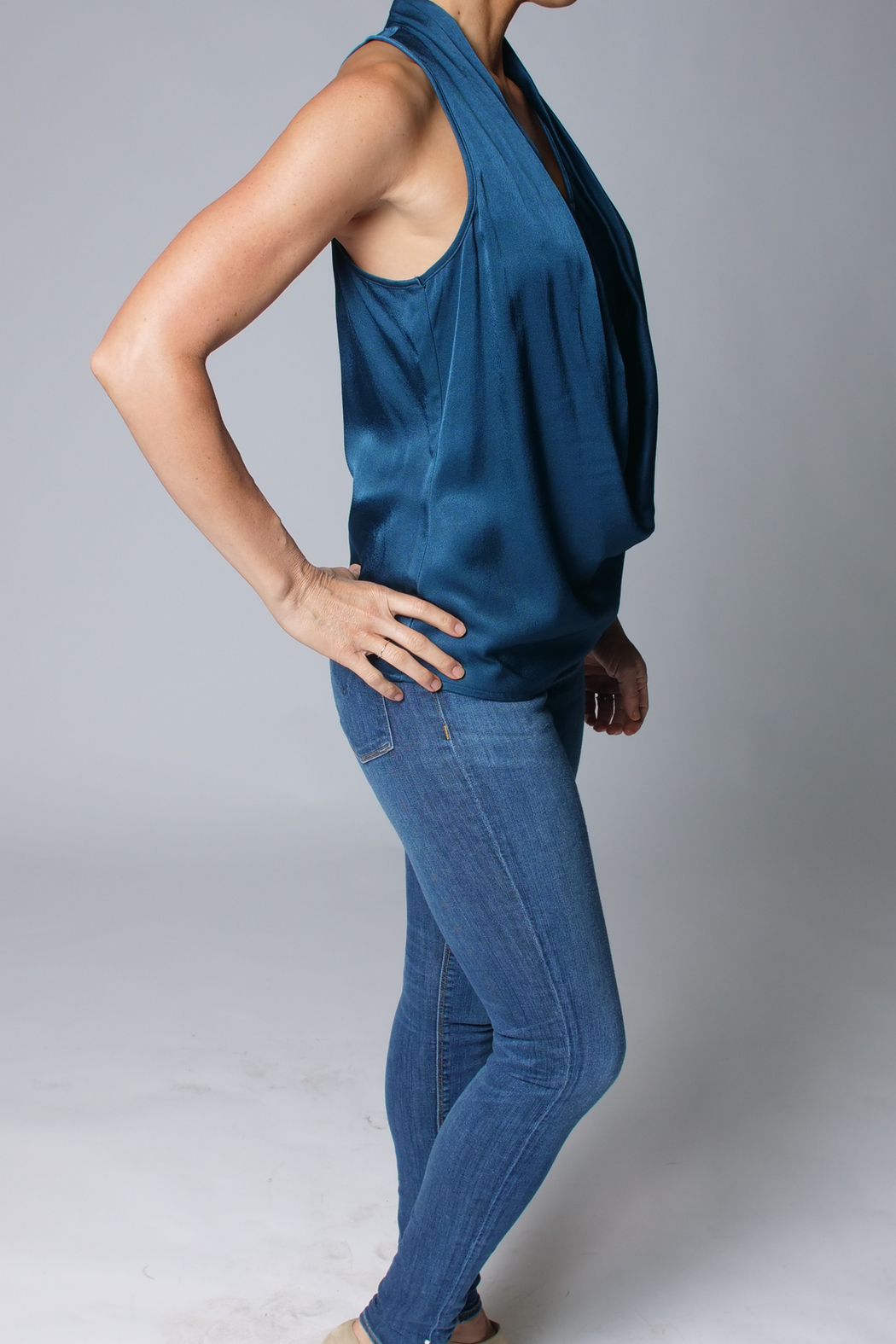 Heather Luster Cowl Neck Tank - Front Full Image