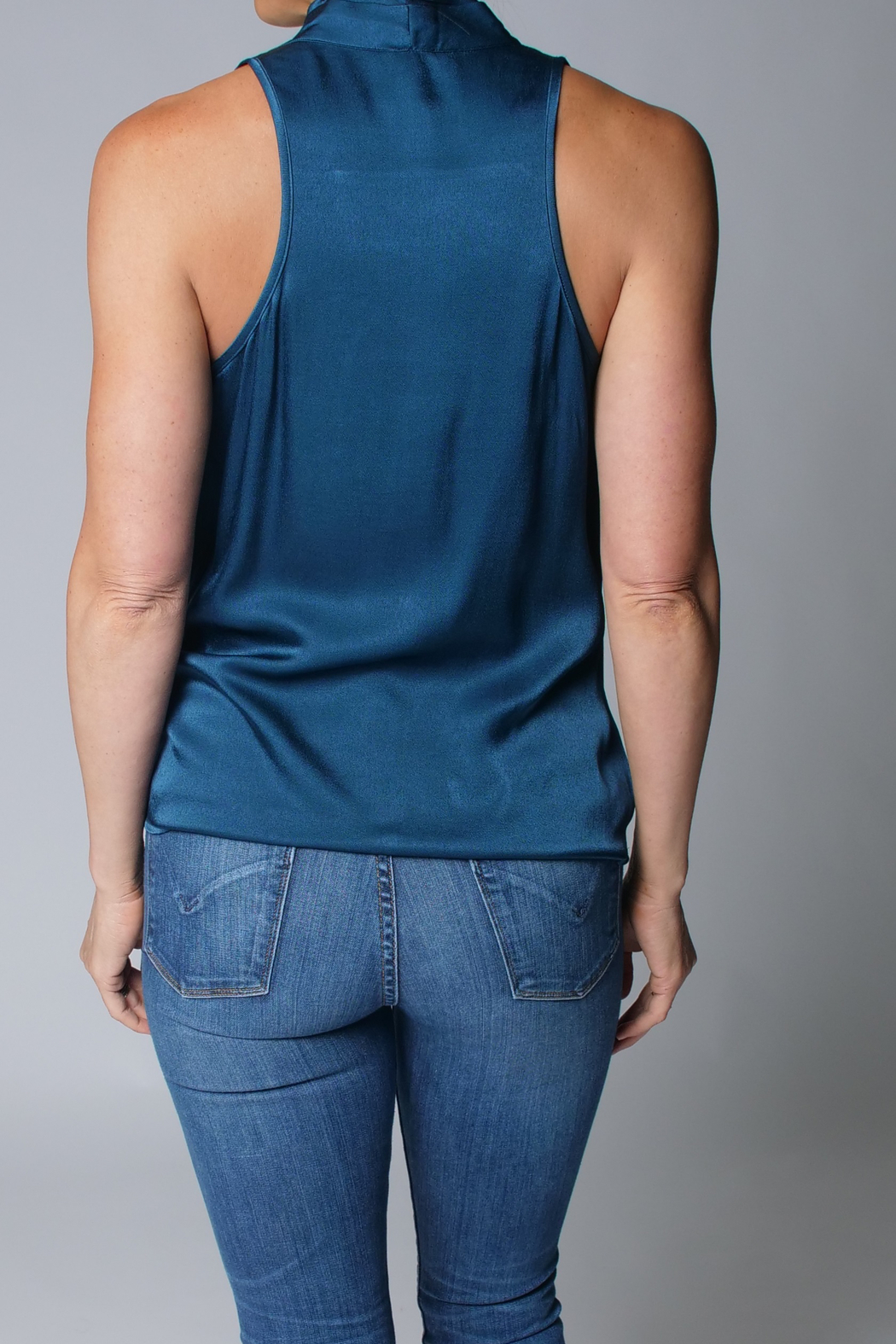 Heather Luster Cowl Neck Tank - Side Cropped Image