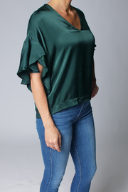 Heather Luster Flutter Sleeve Blouse - Product Mini Image