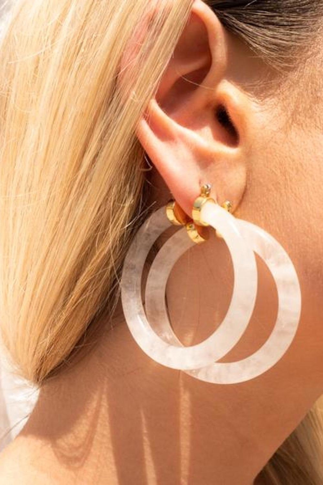 LUV AJ Stone Amalfi Hoops- Clear Quartz - Front Cropped Image
