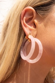 LUV AJ Stone Amalfi Hoops- Rose Quartz - Product Mini Image