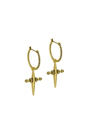 LUV AJ Textured Cross Hoops - Front cropped