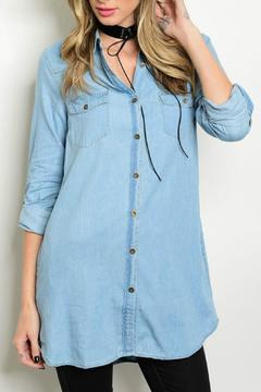 Lux Boutique Chambray Shirt Dress - Product List Image