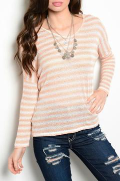 Lux Boutique Crochet Striped Sweater - Alternate List Image