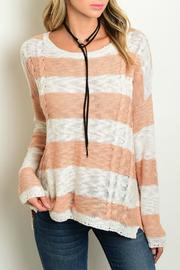 Cozy Casual Rosey Stripes Sweater - Product Mini Image