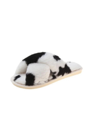 Julia Rose Luxe Faux Fur Criss Cross Slippers - Front cropped