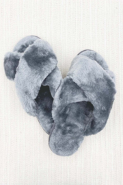 Ark & Co. Luxe Faux Fur Slippers - Front full body