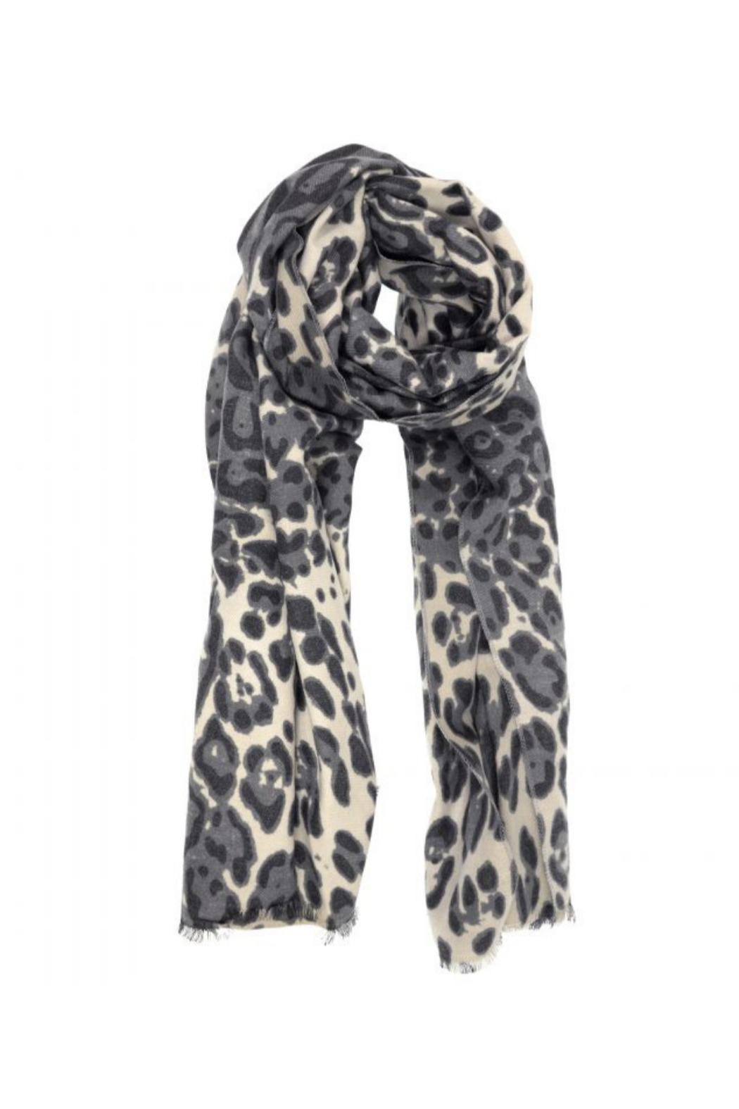 JOY ACCESSORIES INC Luxe Grey Leopard Scarf - Front Cropped Image