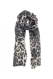 JOY ACCESSORIES INC Luxe Grey Leopard Scarf - Front cropped