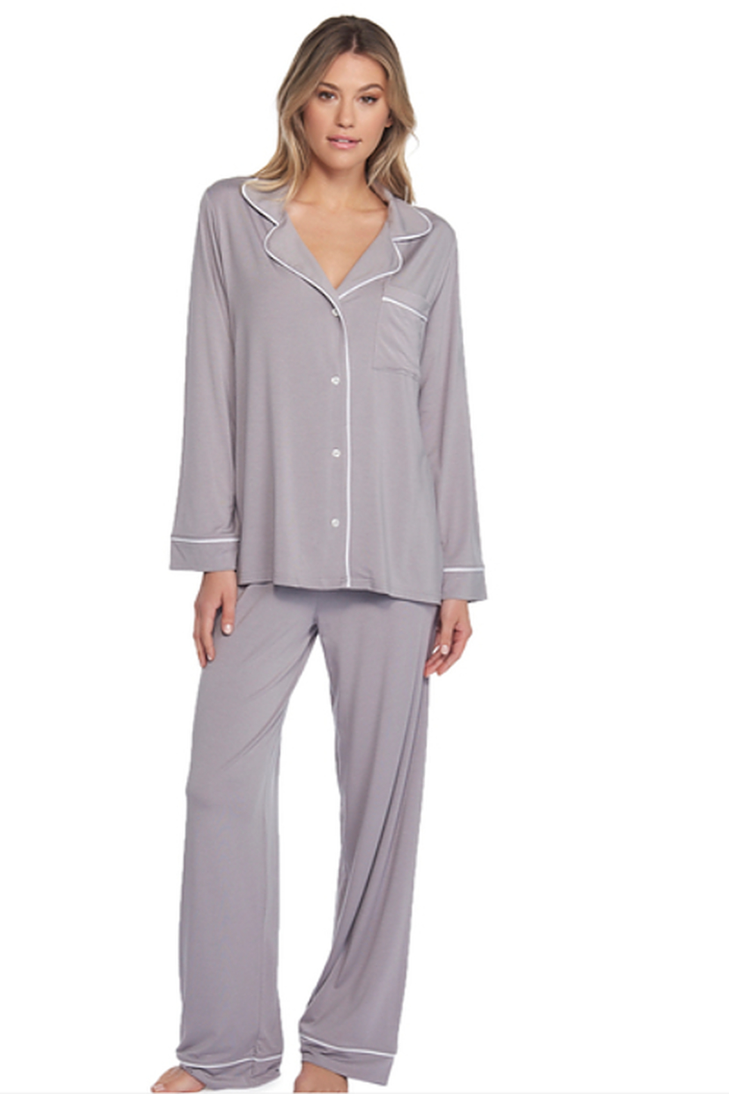 The Birds Nest LUXE MILK JERSEY PIPED PAJAMA SET - PEWTER (SMALL) - Main Image