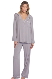 The Birds Nest LUXE MILK JERSEY PIPED PAJAMA SET - PEWTER (SMALL) - Product Mini Image