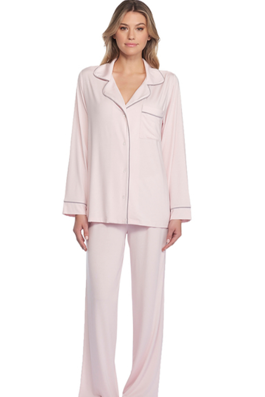 The Birds Nest LUXE MILK JERSEY PIPED PAJAMA SET - PINK (LARGE) - Front Full Image