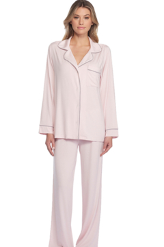 The Birds Nest LUXE MILK JERSEY PIPED PAJAMA SET - PINK (LARGE) - Alternate List Image