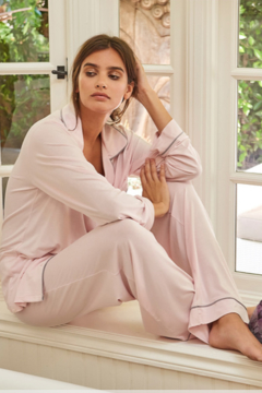 The Birds Nest LUXE MILK JERSEY PIPED PAJAMA SET - PINK (LARGE) - Product List Image
