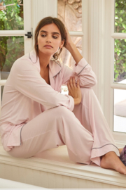 The Birds Nest LUXE MILK JERSEY PIPED PAJAMA SET - PINK (LARGE) - Product Mini Image