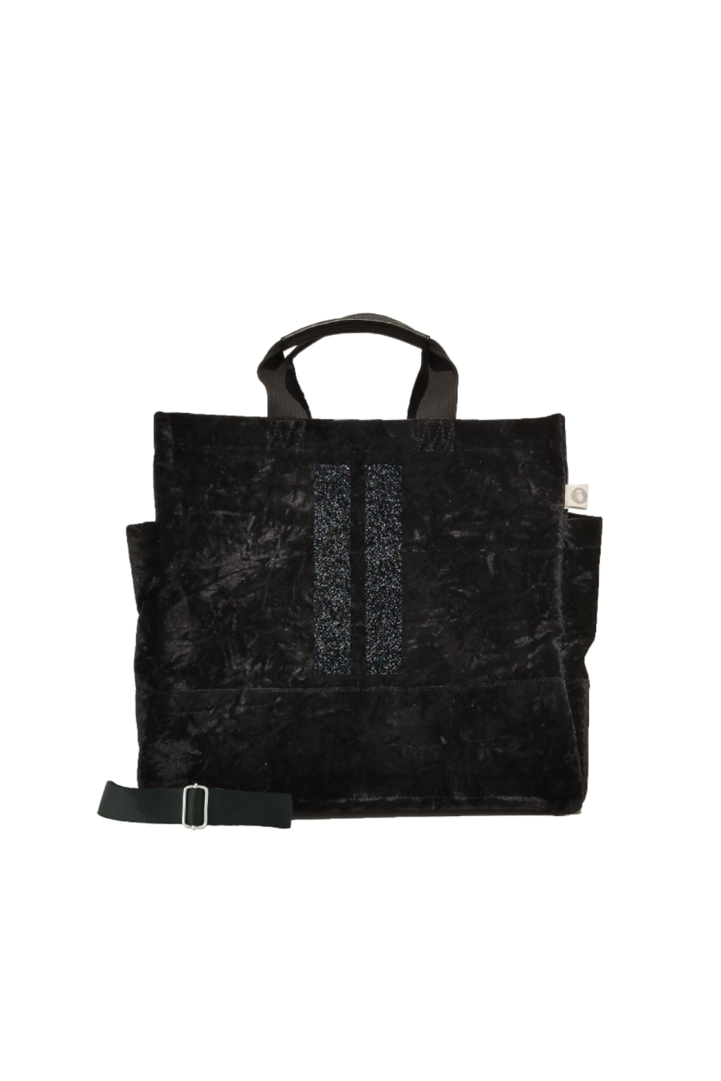 Quilted Koala LUXE NORTH SOUTH: BLACK CRUSHED VELVET - Main Image