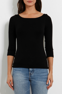 Three Dots Luxe Rib 3/4 Slv Ballet Neck Top - Alternate List Image