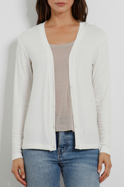Three Dots Luxe rib Cardi w Gathered Back - Front cropped