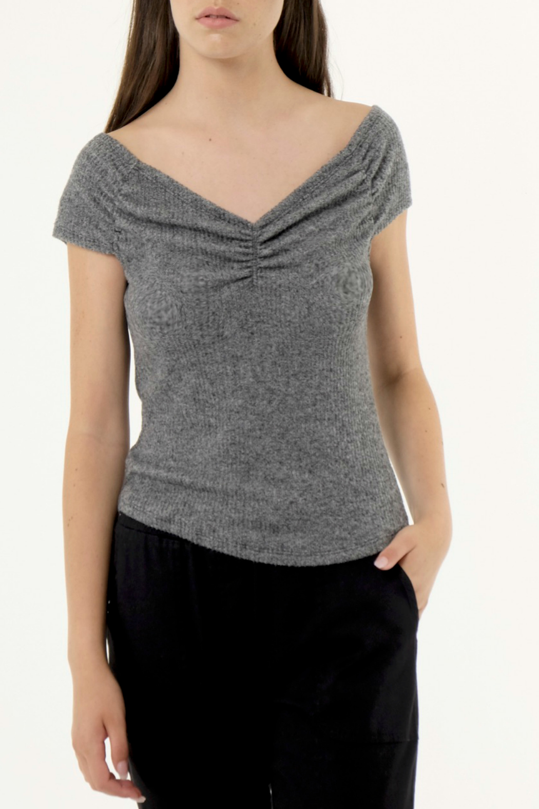Nanavatee Luxe Ribbed Ruched OTS Tee - Main Image