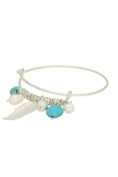 Luxe Silver Turquoise Feather Bangle - Product List Image