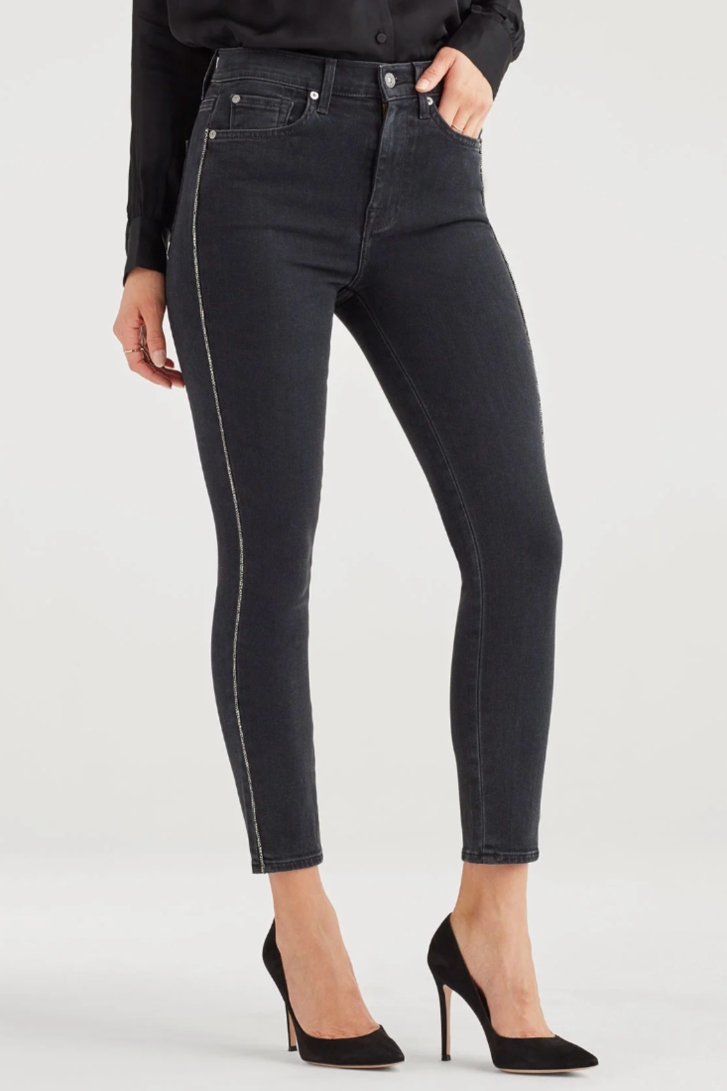 7 For all Mankind Luxe Vintage High Waist Ankle Skinny with Snake Piping in Moon Shadow - Front Full Image