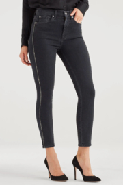 7 For all Mankind Luxe Vintage High Waist Ankle Skinny with Snake Piping in Moon Shadow - Front full body