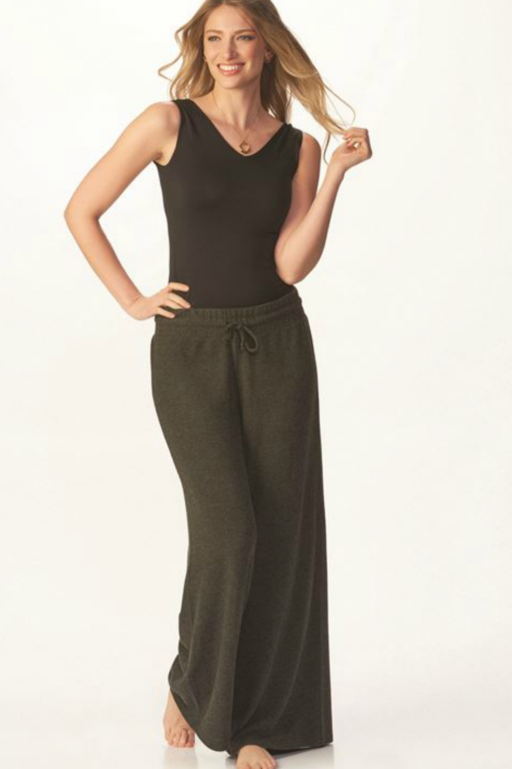 Charlie Paige Luxe Wide Leg Pant - Front Full Image