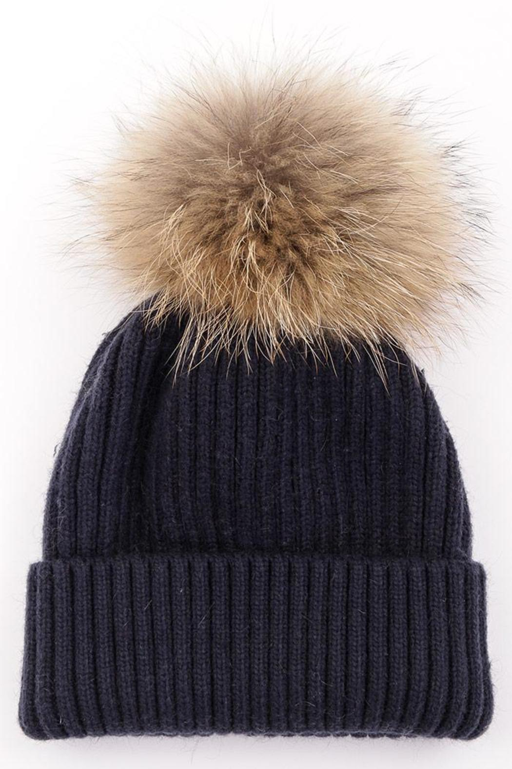 Luxe Boutiques Fur Pom-Pom Hat - Front Cropped Image