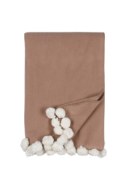 The Birds Nest LUXXE POM POM THROW - SAND IVORY - Front cropped