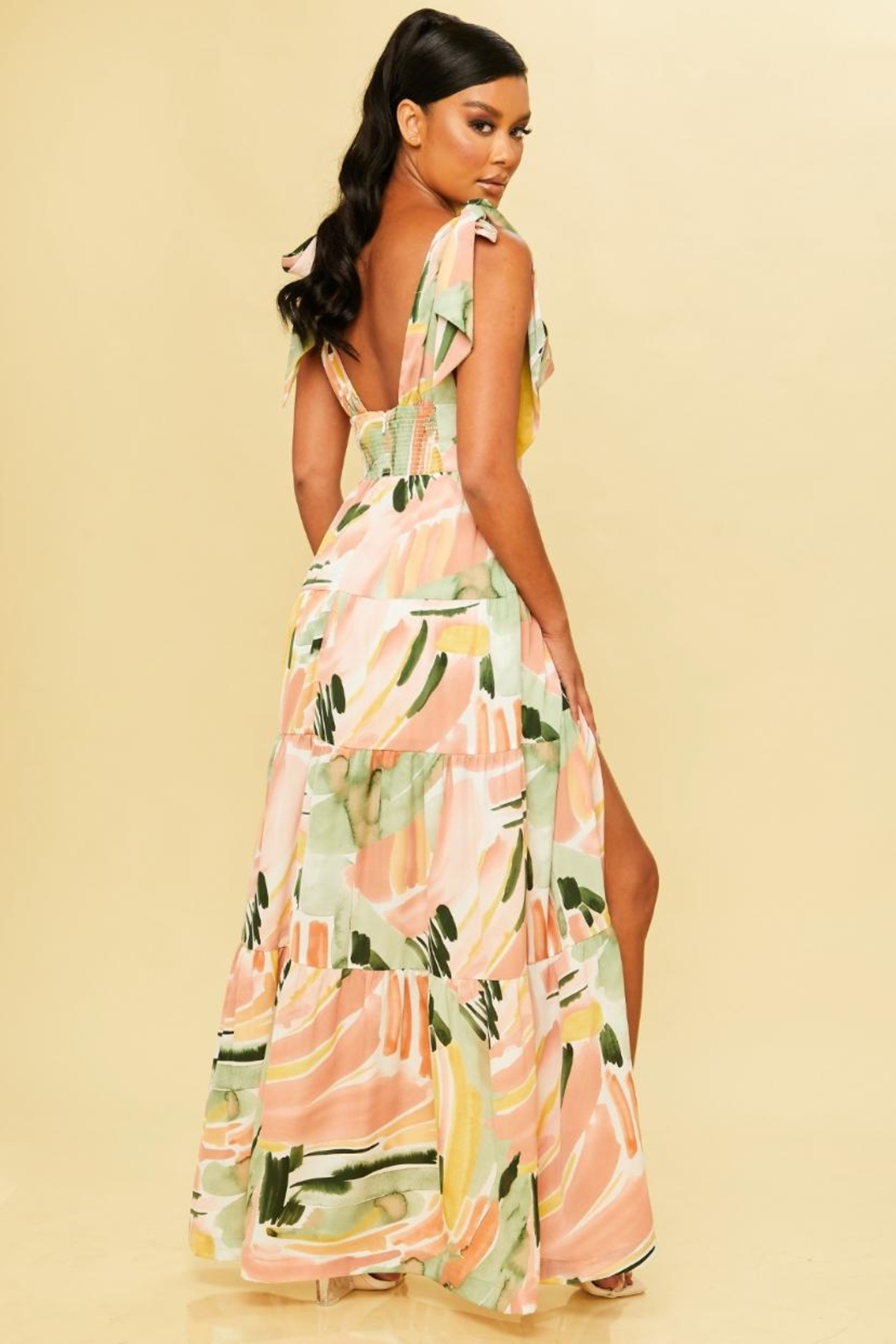 luxxel Abstract Maxi Dress - Front Full Image