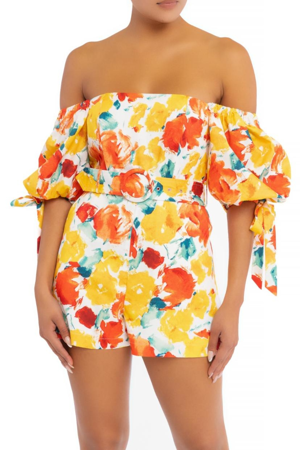 luxxel Belted Floral Romper - Main Image