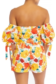 luxxel Belted Floral Romper - Front full body