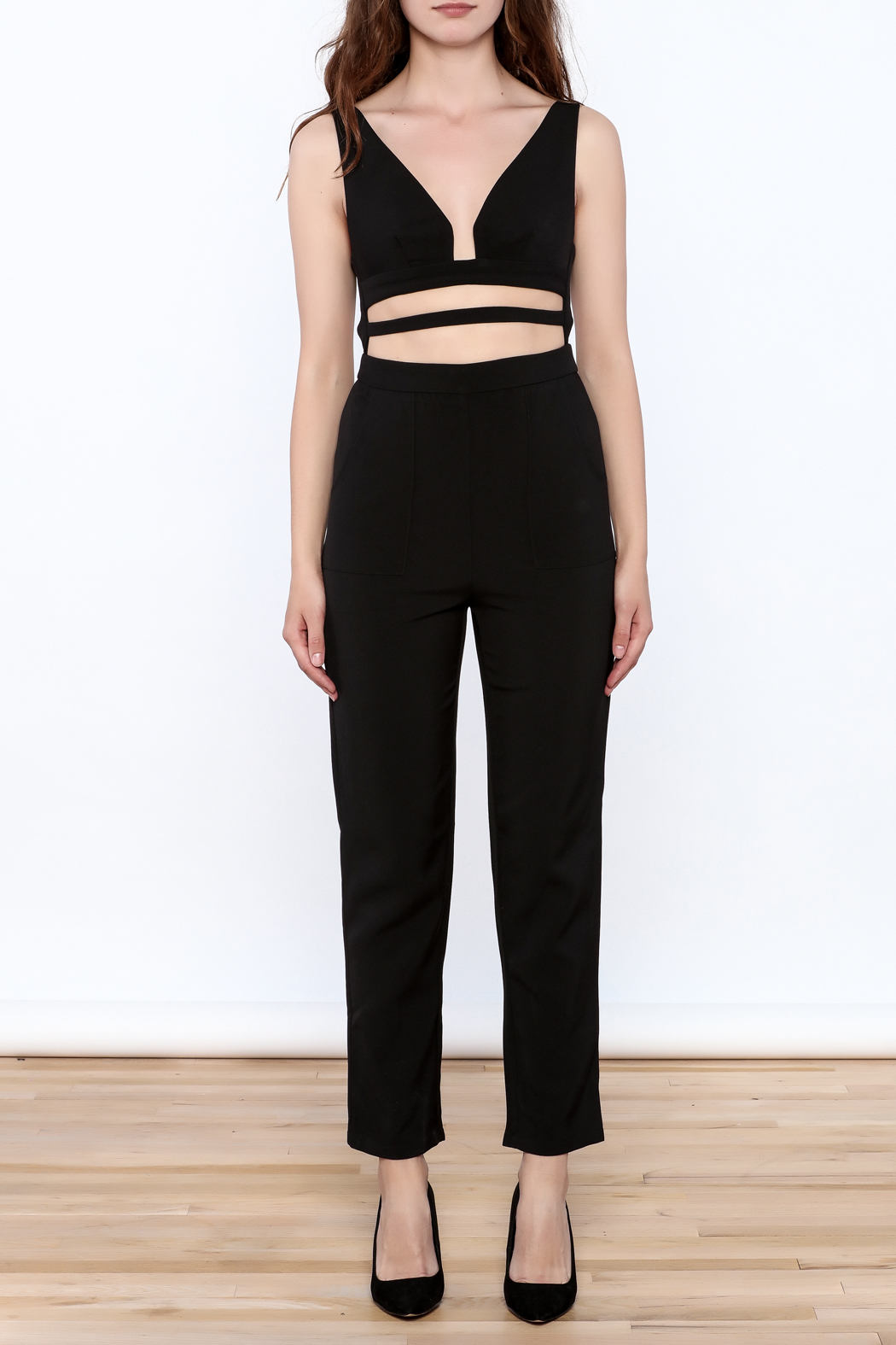 luxxel Black Buckle Jumpsuit - Front Cropped Image