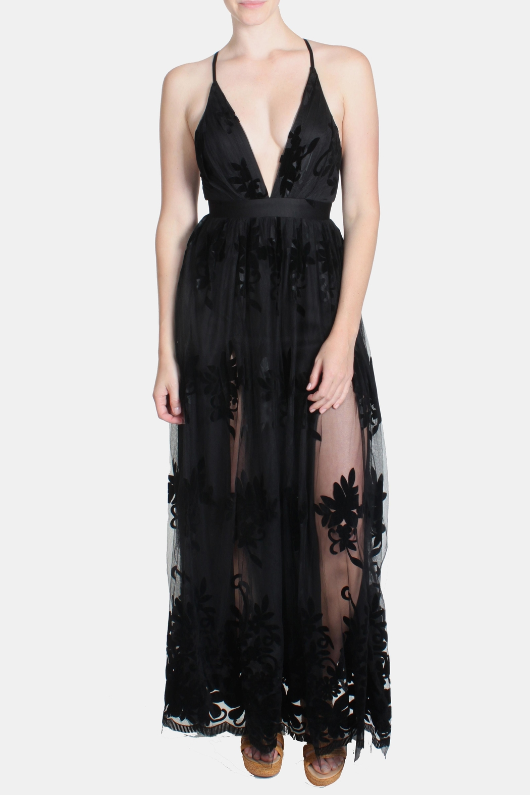 luxxel Black Monochrome Floral-Gown - Front Full Image