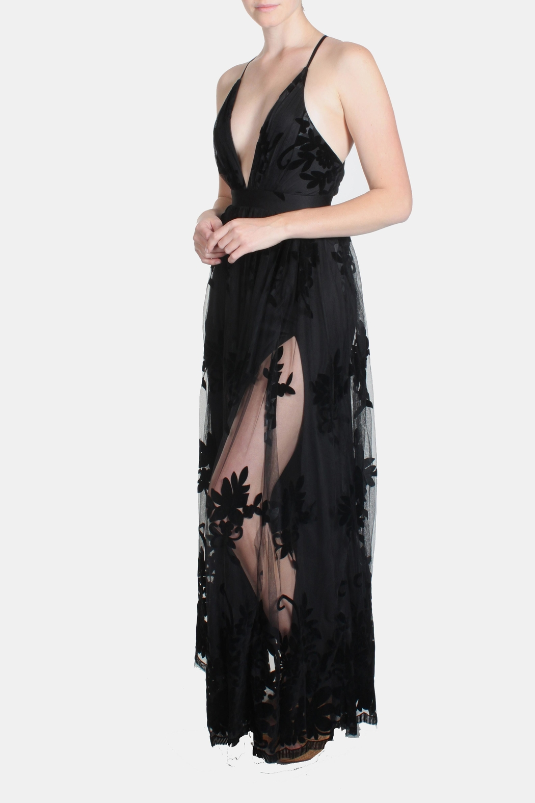 luxxel Black Monochrome Floral-Gown - Front Cropped Image