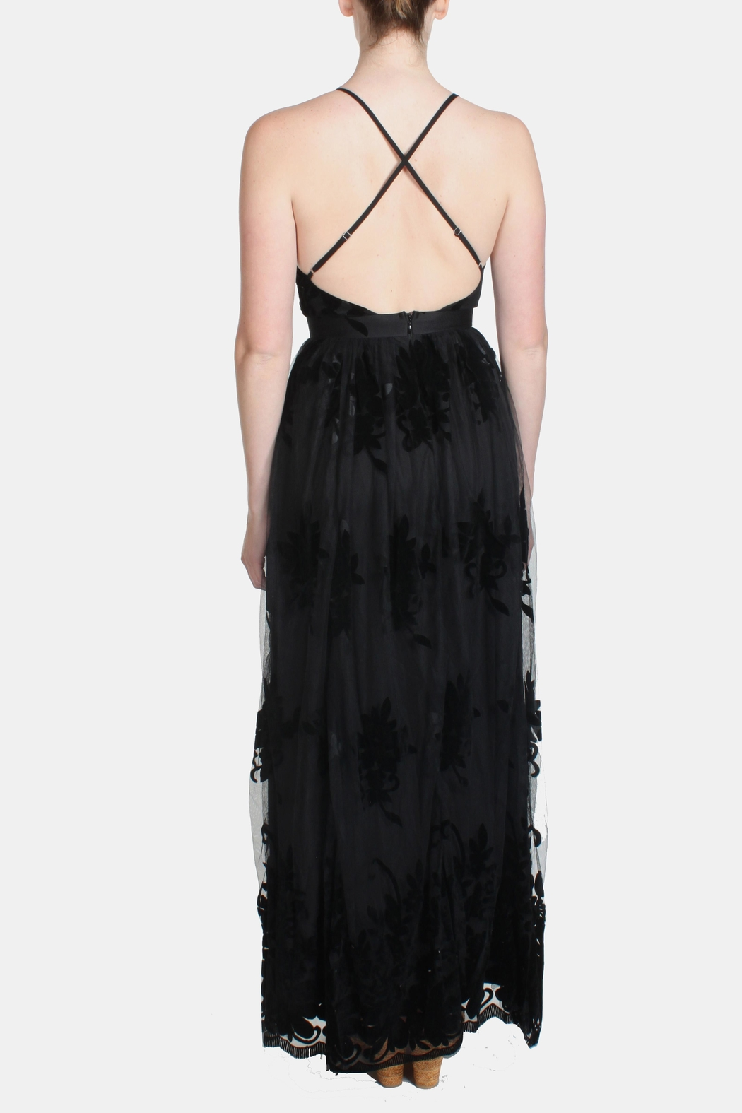 luxxel Black Monochrome Floral-Gown - Back Cropped Image