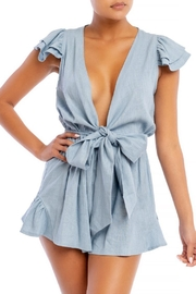 luxxel Blue Linen Romper - Product Mini Image