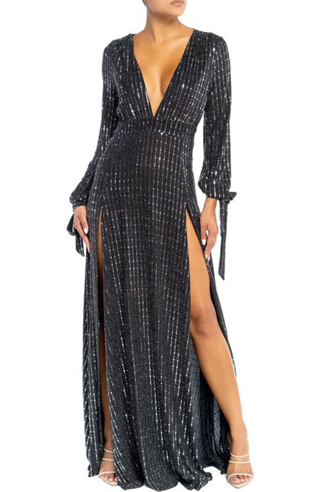 luxxel Bodysuit Maxi Dress - Front Cropped Image