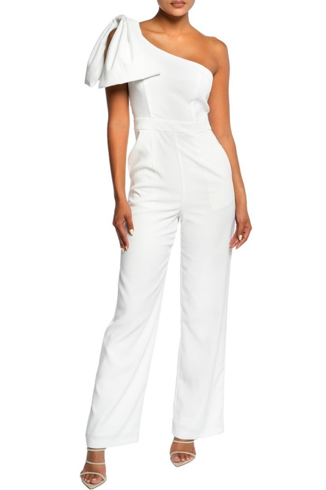 luxxel Bow Accent Jumpsuit - Front Cropped Image