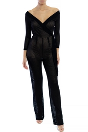 luxxel Chevron Knit Wrap-Jumpsuit - Front cropped