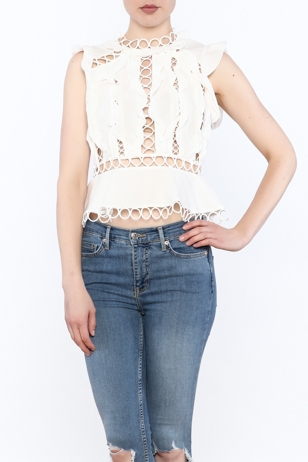 luxxel Circle Crop Top - Front Cropped Image