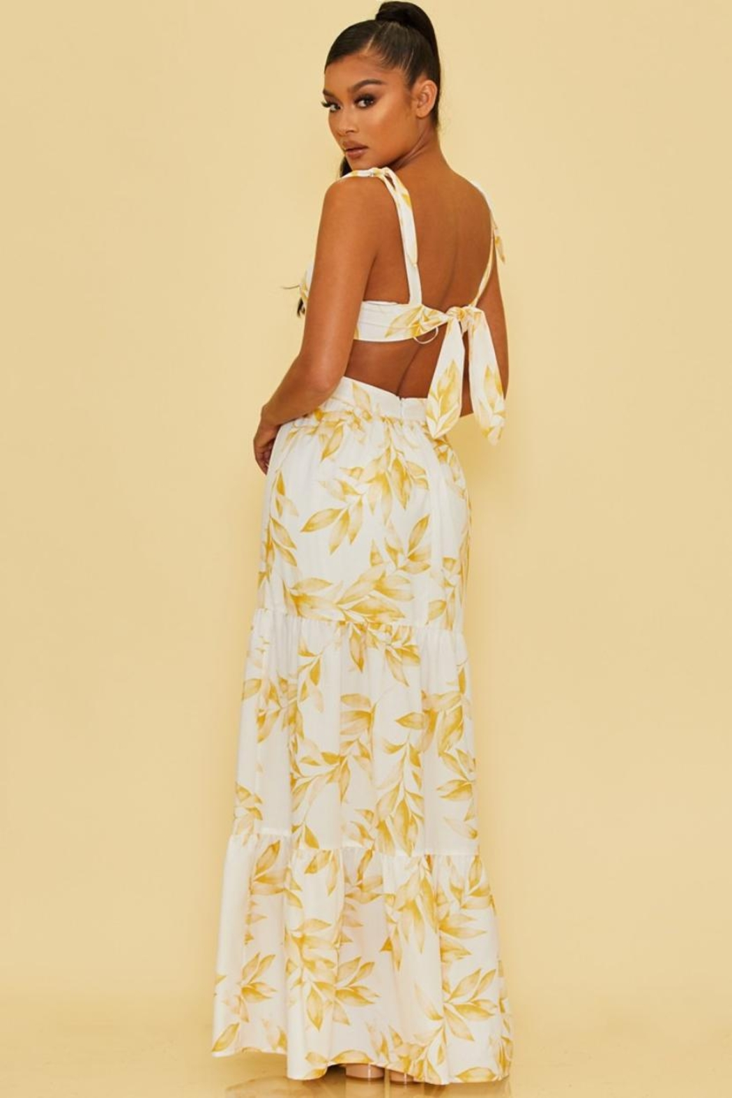 luxxel Cut-Out Leaves Maxi - Front Full Image