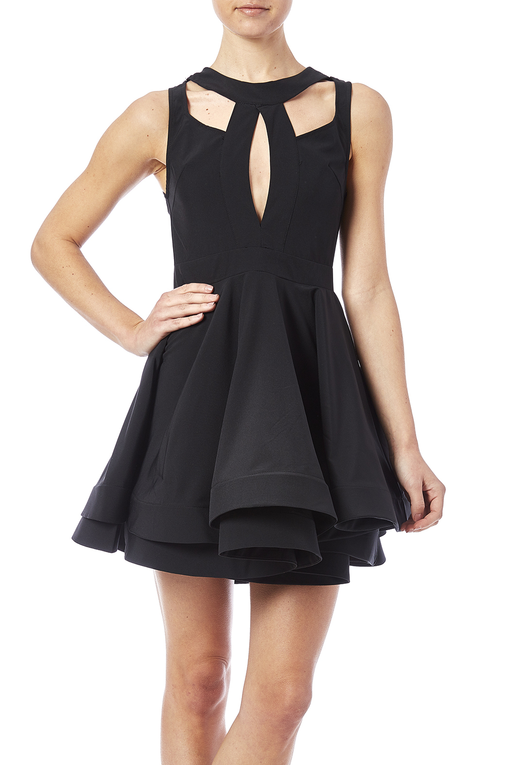 luxxel Cutout Flare Dress - Front Cropped Image